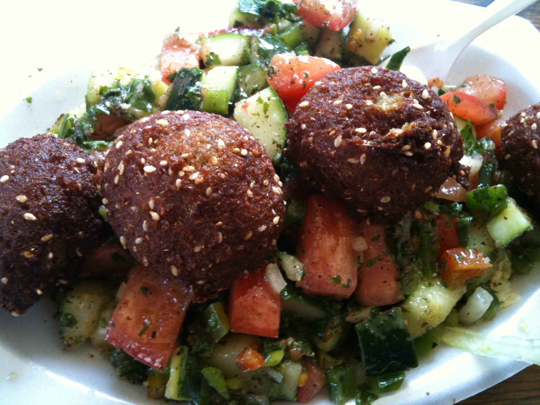 Moody's Falafel Palace :: Falafel Plate - this was my first time eating there while the sun has been up I think.