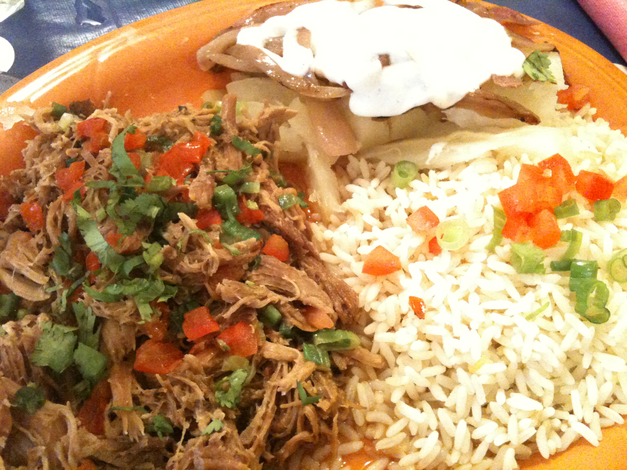 "Cafe Cubana - Brooklyn, NY :: ""PLATOS GRANDES"" - I got the #19- Pulled pork  with yuca and onion relish."
