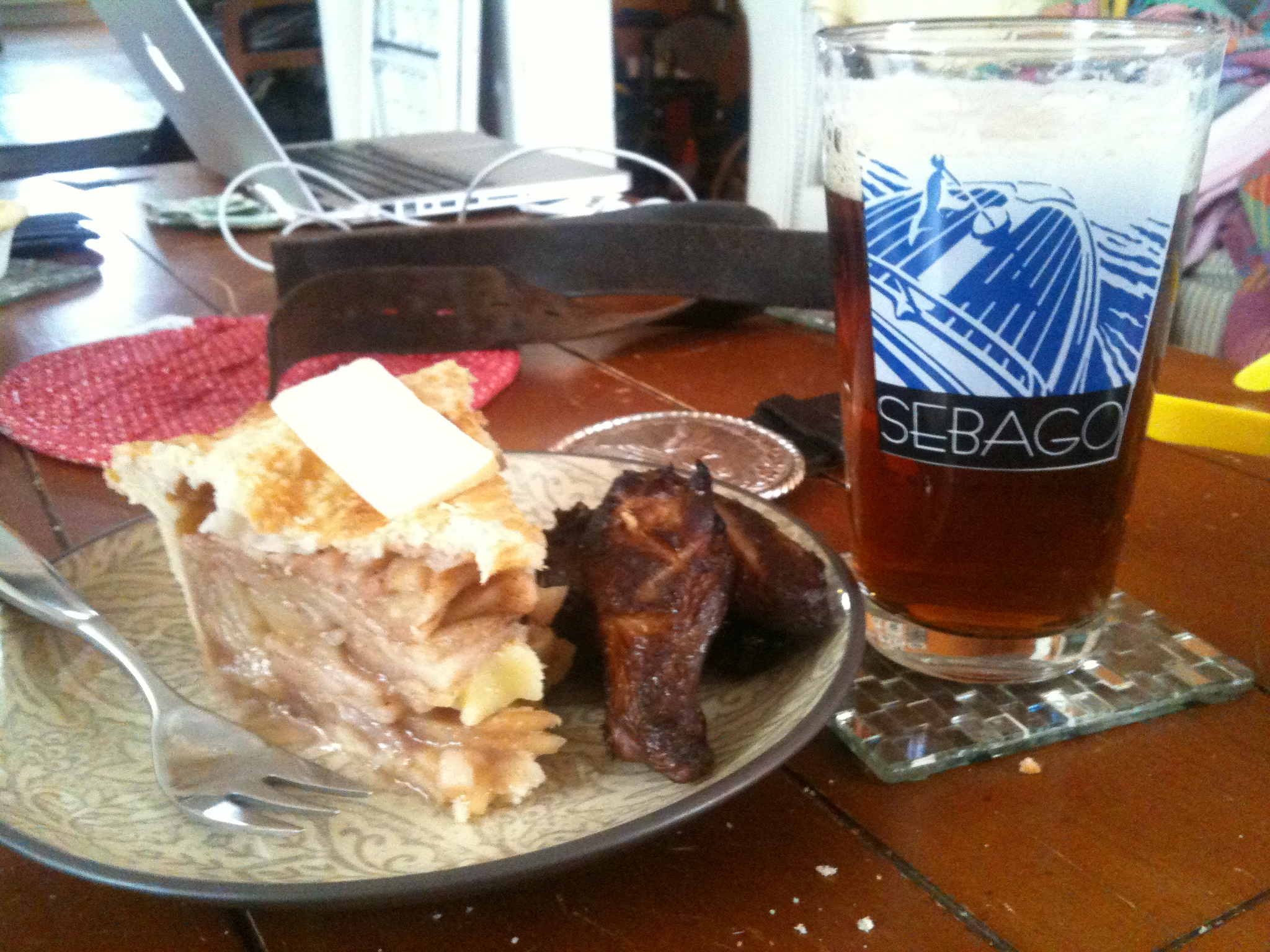 Brothers House - Portland, Maine :: Apple pie with cold smoked apples, cold smoked cheddar cheese, hot smoked brined chicken wings with a Sebago Slick Nick Winter Ale.  What a smoky breakfast!!