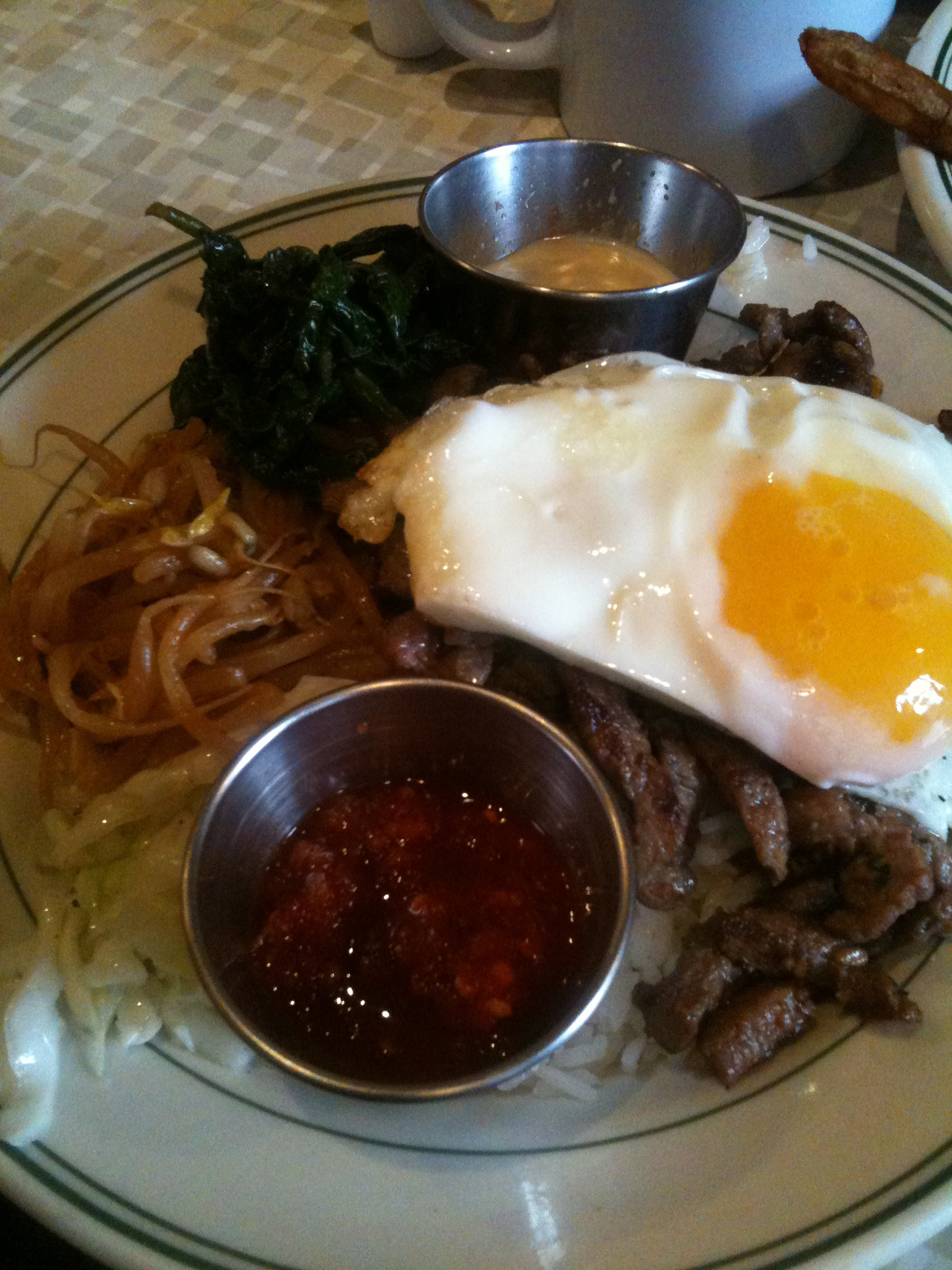 """Bite Cafe :: """"Bi Bim Bop"""" my fist time having this and my first time ever knowing about this wonderful snack!  the egg on top makes the dish swell...  I drizzled the chili sauce all over the top and mixed it all up... damn that was good!"""