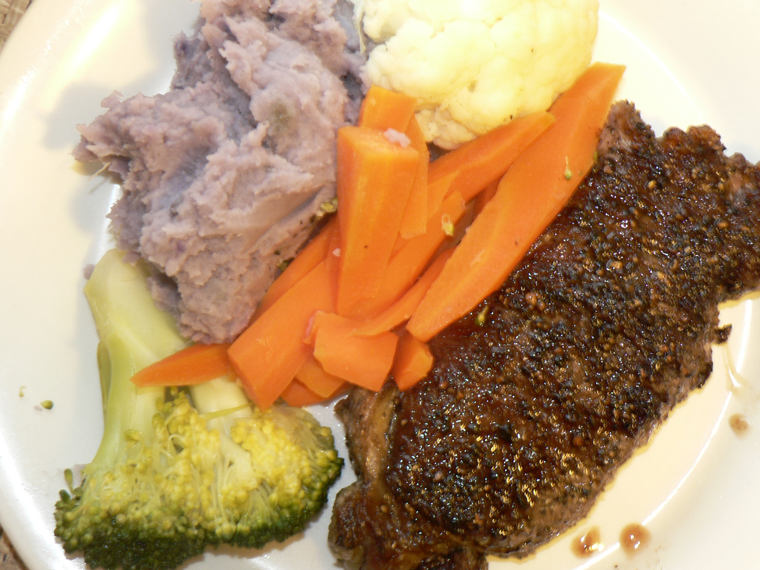 brisbane australia :: Porterhouse steak dinner with Purple sweet mashed potato!