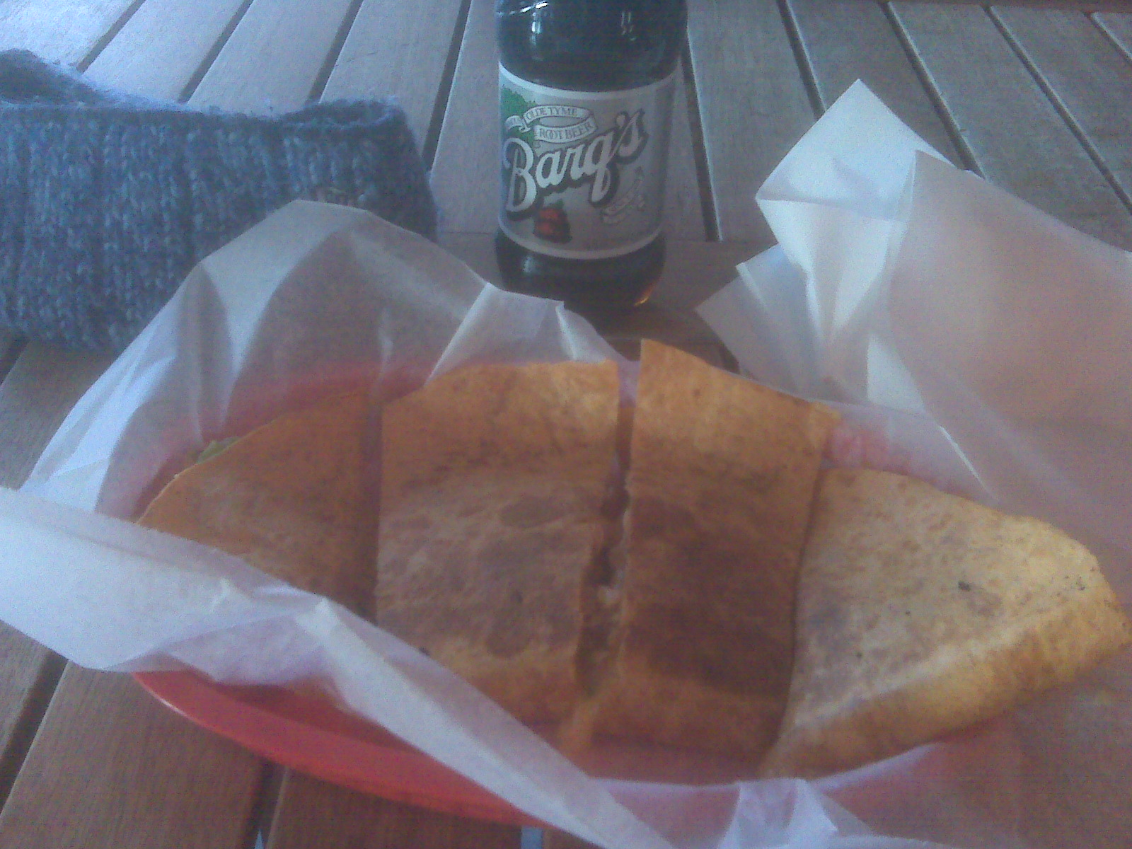 armadillos keene nh :: Chicken quesadilla with guacamole mixed in.  barq's root beer