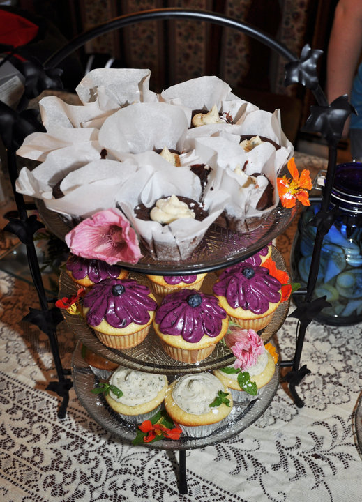 Milford NH :: The cupcakes my sister-in-law made for my baby shower! they were so good! I believe the top ones were Black Bean and Chocolate with Mint Cayenne frosting. The middle ones were Vanilla Bean with Blueberry frosting and the bottom ones were Mojito cupcakes.