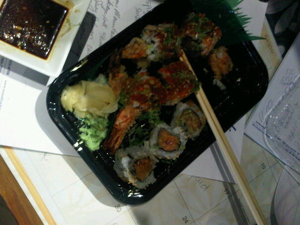 soundtrack boston/douzo  :: desk sushi from douzo with extra wasabi in the soy sauce - so good!!