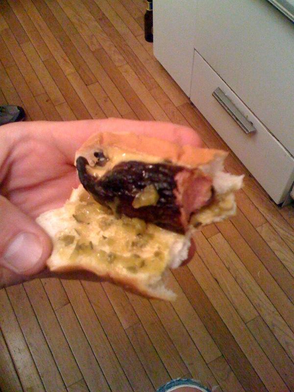 My House Cambridge, MA :: 3/4 eaton hotdog with the green tabasco sauce on it!!! soooooo good!!!