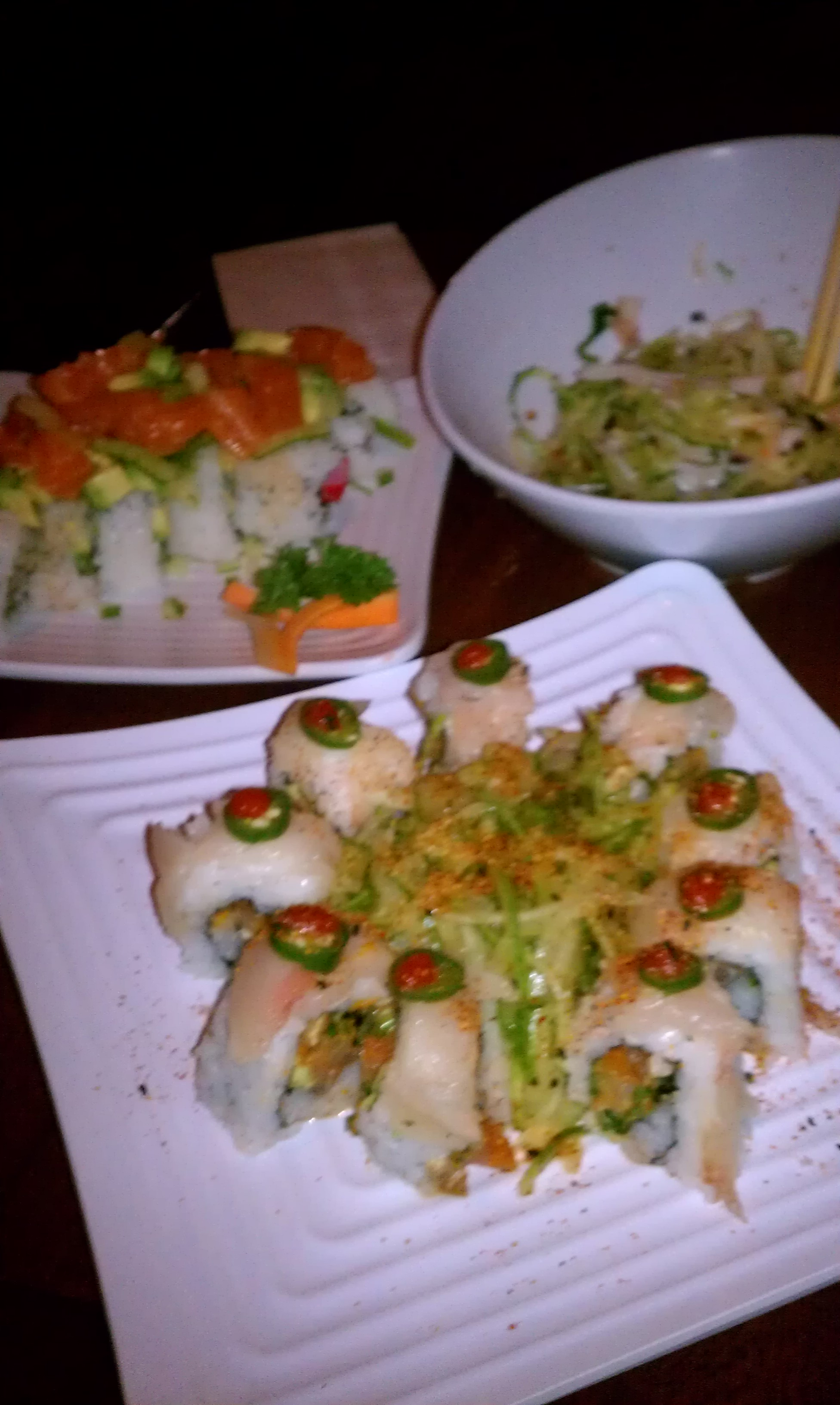 "Mcallen Tx. :: cucumber salad and sushi rolls from ""kumori"""