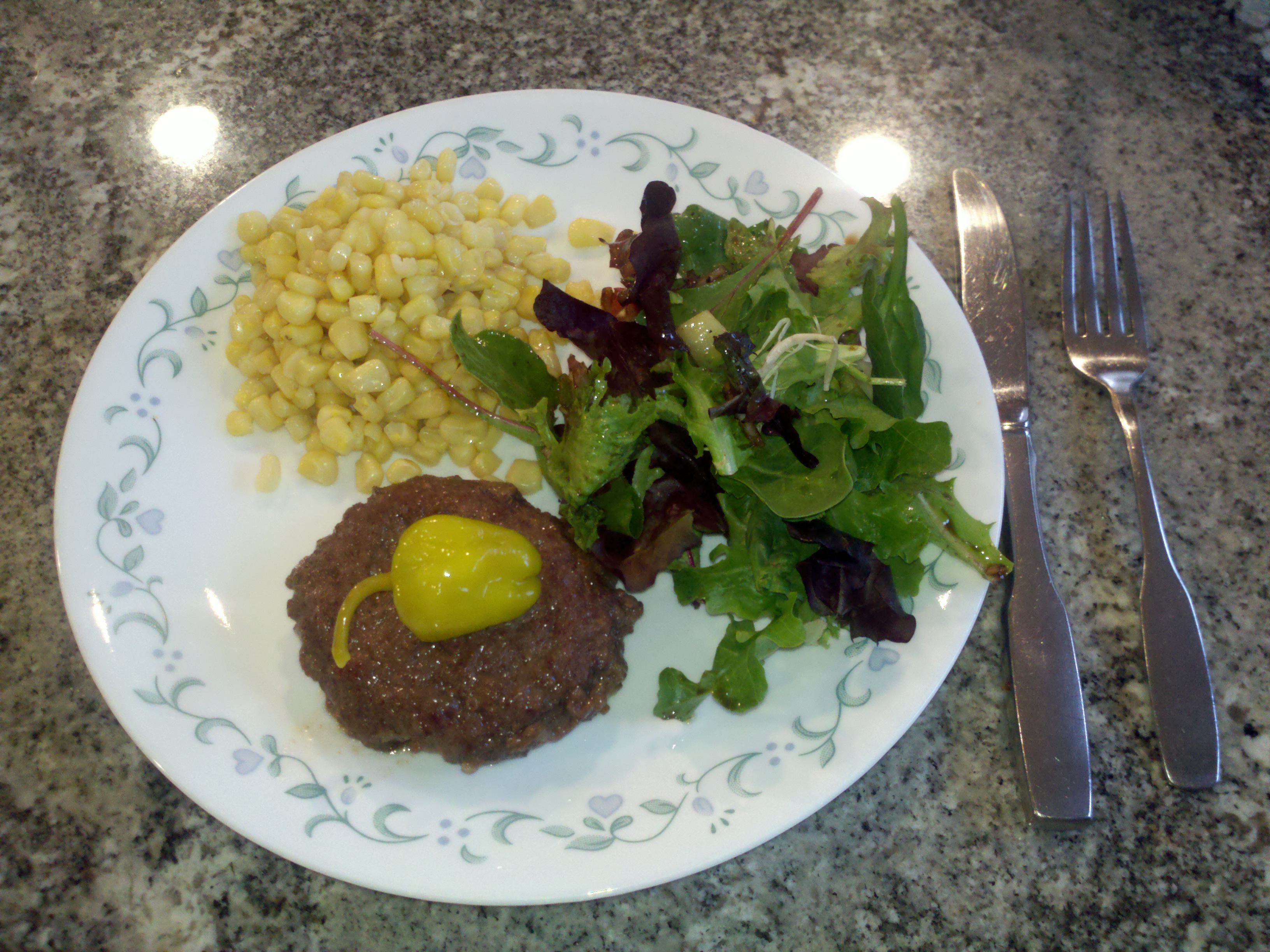 Milford, NH :: hamburger with pepper, corn, and salad