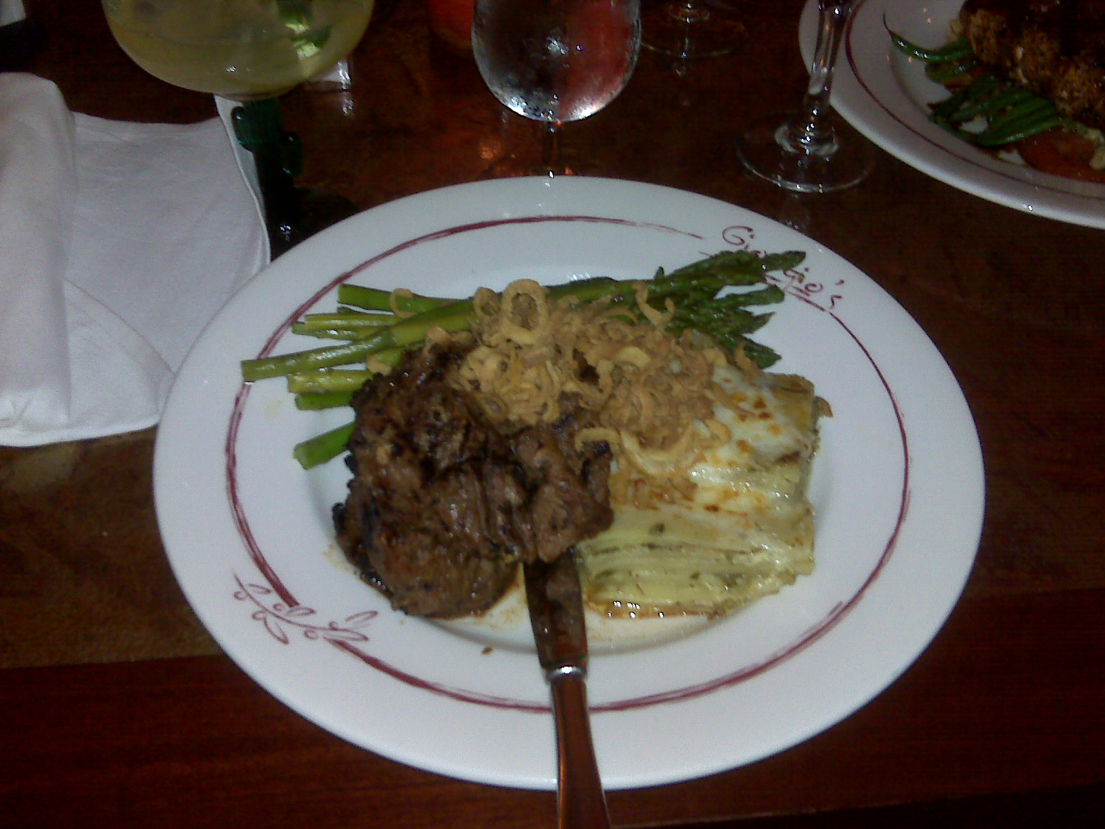 Georgio's Restaurant in Milford NH :: Brother Costa's Sirloin Steak Tips with potato and asparagus.  Cooked medium