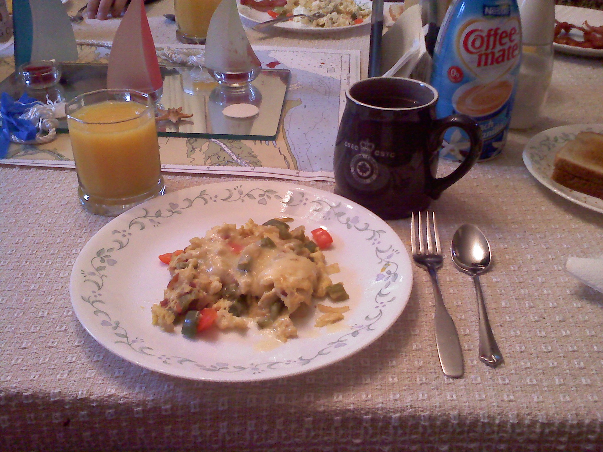 Home, Milford, NH :: 3 Egg omlet with red and green peppers, onion, bacon, cheddar cheese, hot coffee, and orange juice.