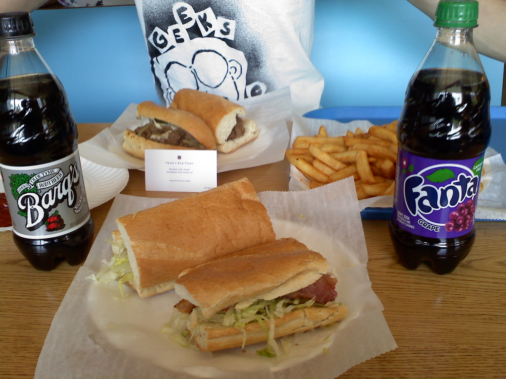 Milano House of Pizza, Milford NH :: Steak and Cheese with onions/peppers, BLT sub, small fries and 2 sodas