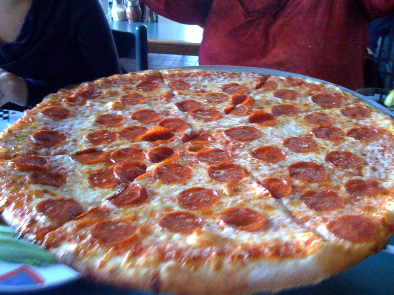 "Penguin Pizza (Mission Hill Boston) :: This is ""The Classic"" - a big thin crust pepperoni pizza. Penguin is rapidly becoming my favorite non-chain pizza joint and imo is WELL worth the hike out to Mission Hill"