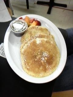 Cambridge  :: Midnight snack! Three huge pancakes with powdered sugar and fresh fruit!