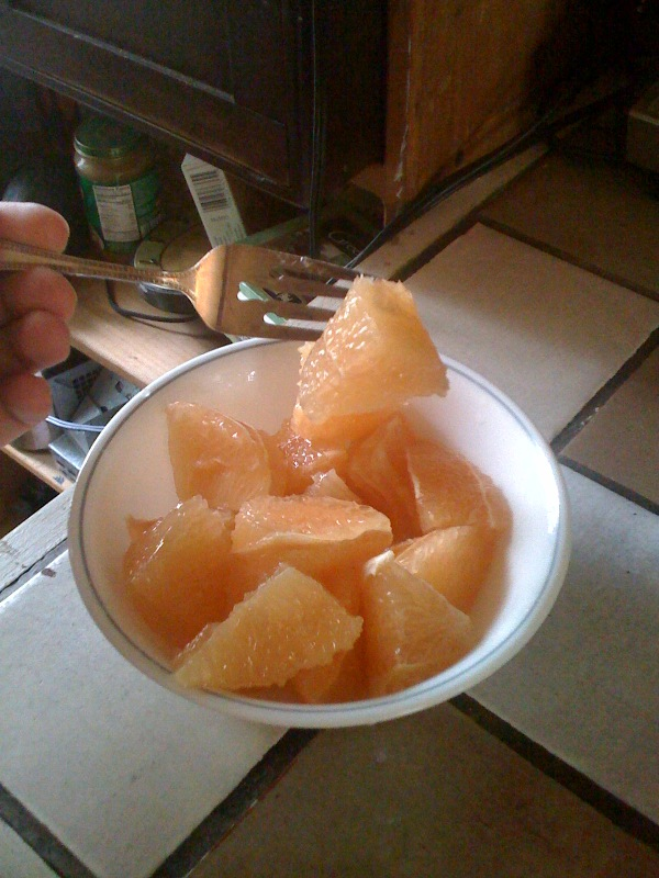 Cambridge, MA :: a nice large bowl of fresh grapefruit!!!!!!  I like to eat them like this... BIG CHUNKS!!!!