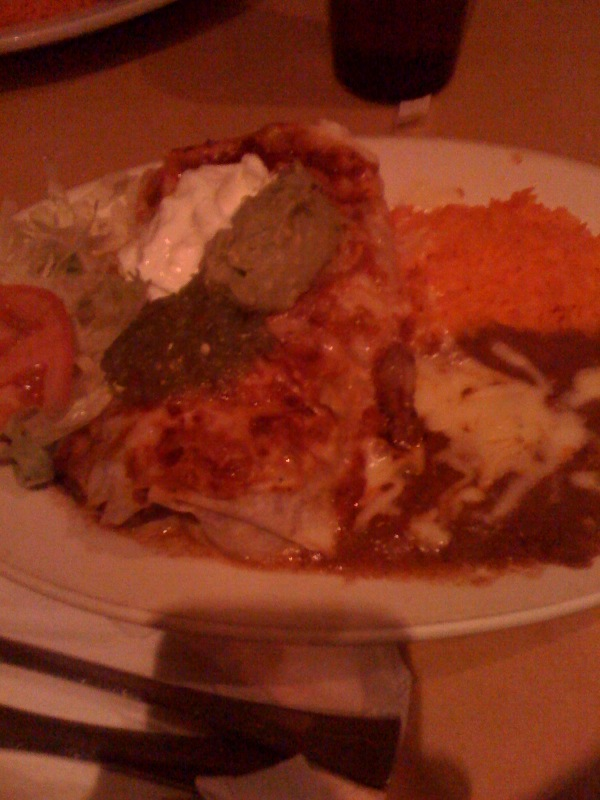some bad Tex Mex place in NYC :: I asked for a steak, rice, bean, cheese, soup cream and hot sauce burrito... I got pretty much what I asked for and a little more... but it tasted really not good!