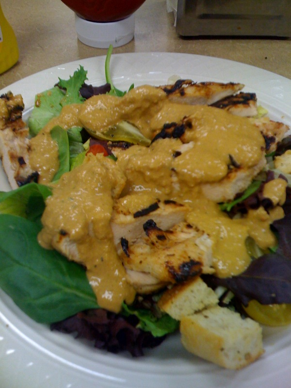 Cafeteria at work :: nice house salad w/ grilled chicken topped with fresh dressing!