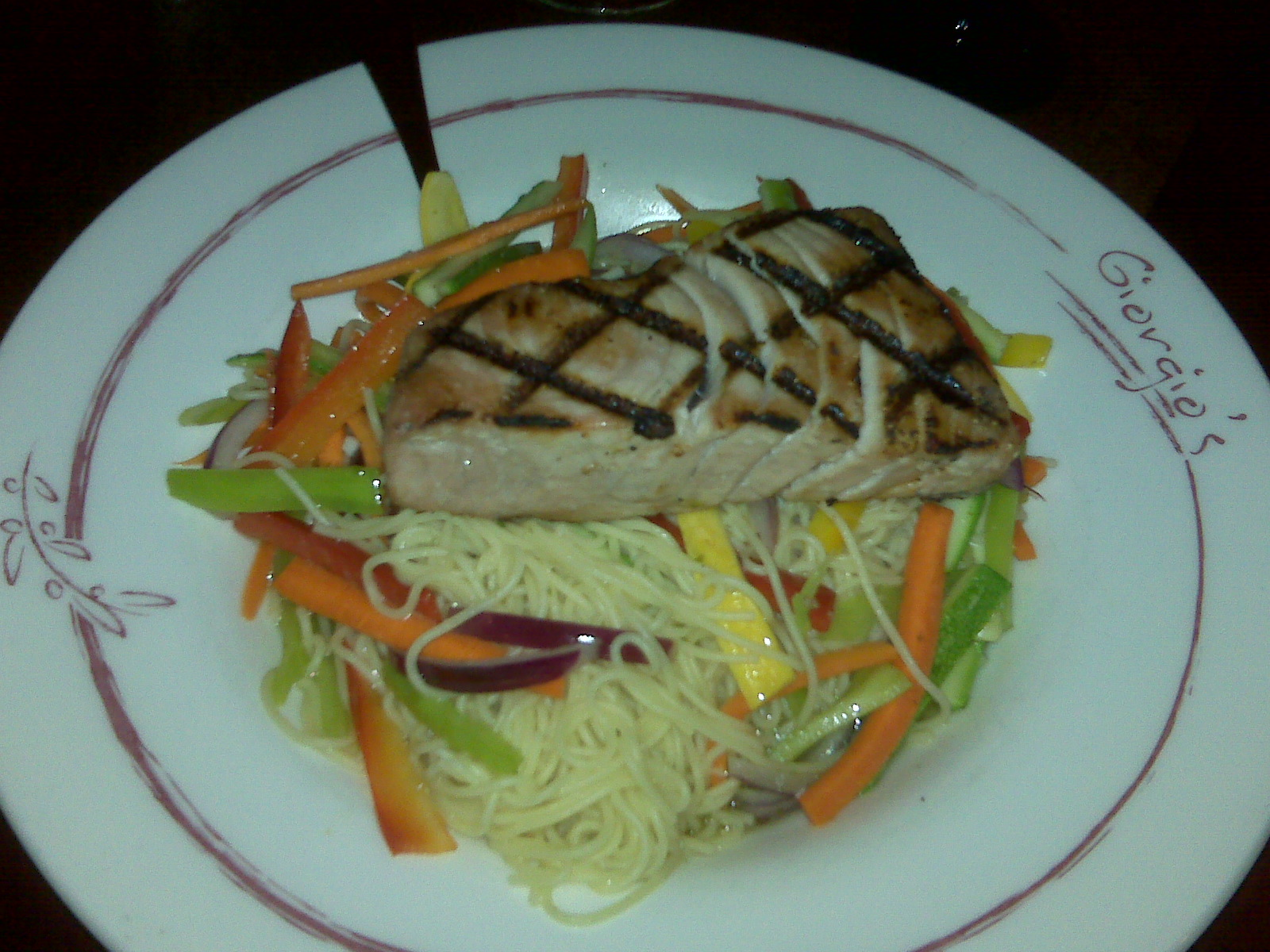 Georgio's Restaurant in Milford NH :: My first try at fish! grilled tuna, some noodle things and veggies!