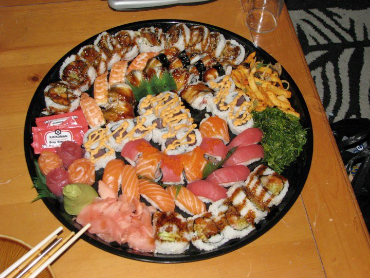 Boston :: 70+ piece sushi platter. Shared by 3 girls for a great birthday party!