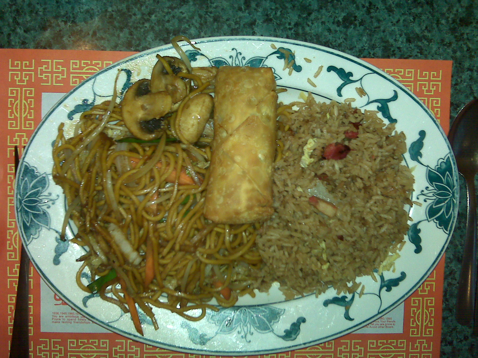 Golden Palace, Milford NH :: Veggie Lo Mien, Pork Fried Rice, Egg roll and a  Roy Rogers!