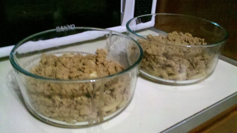 New Britain CT :: making apple dessert with crumb topping.