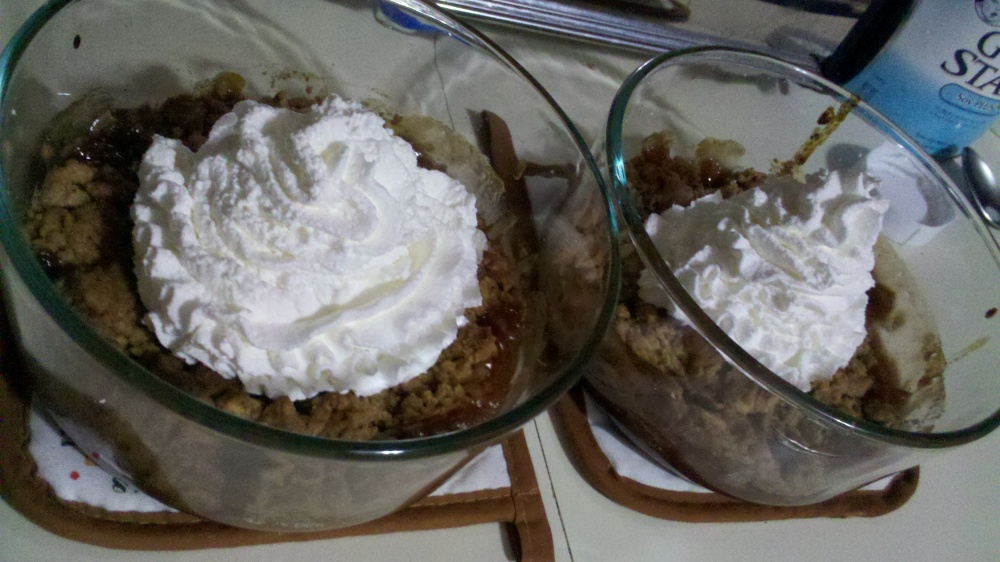 New Britain CT :: Yummy apple dessert I made today with apple pie like apples, a crumb topping and some whipped cream for fun! tastes awesome!  (I posted a non-cooked picture earlier, this is one of it cooked!!)