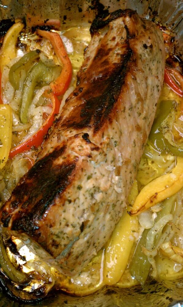 ALLENTOWN,PA :: lemon,pepper,fresh garlic,onions,green, yellow & red peppers roasted pork loin :] mmMmMmm