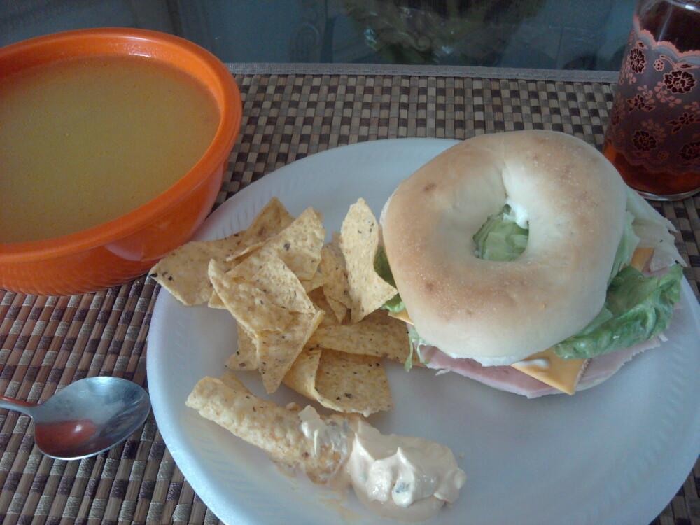 La Joya TX  :: bagel sandwich, rice&chicken soup,chips
