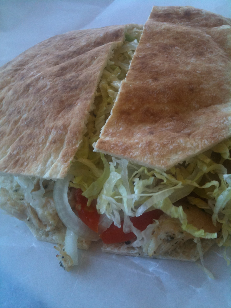 Pizza Chef - Bradford, NH :: Grilled chicken pita with all of the fixns
