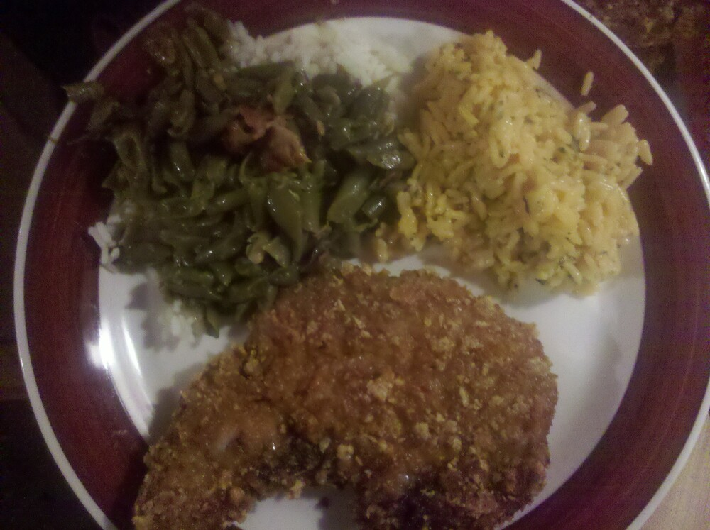 JayG :: Fried PorkChops,broccoli cheese rice. Bacon and Green Beans cooked over White rice