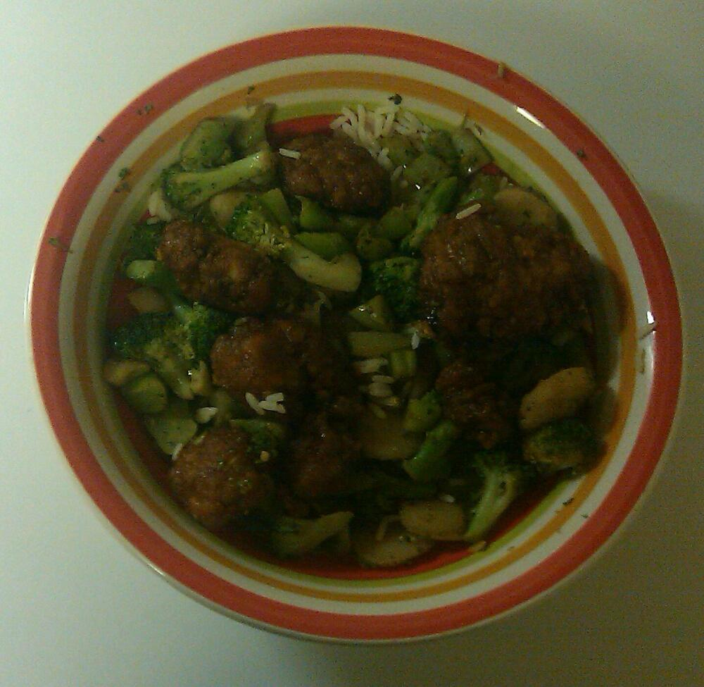 home (baltimore md) :: bourbon chicken with rice & sauteed broccoli & water chestnuts