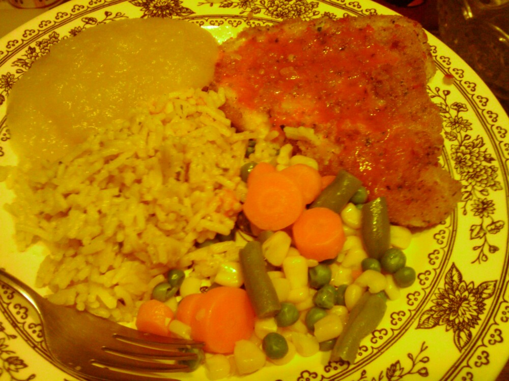 1St Ward :: breaded salmon with chalula~mixed vegetables~garlic butter rice~apple sauce