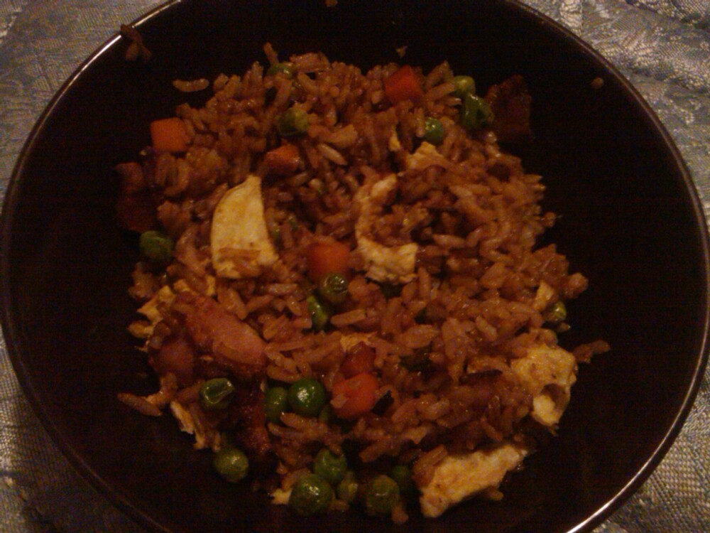 vancouver, wa :: homemade fried rice. eggs bacon peas carrots green onions