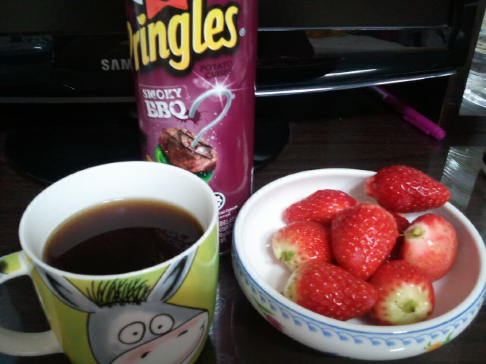 Korea :: strewberry. black coffee and pringles
