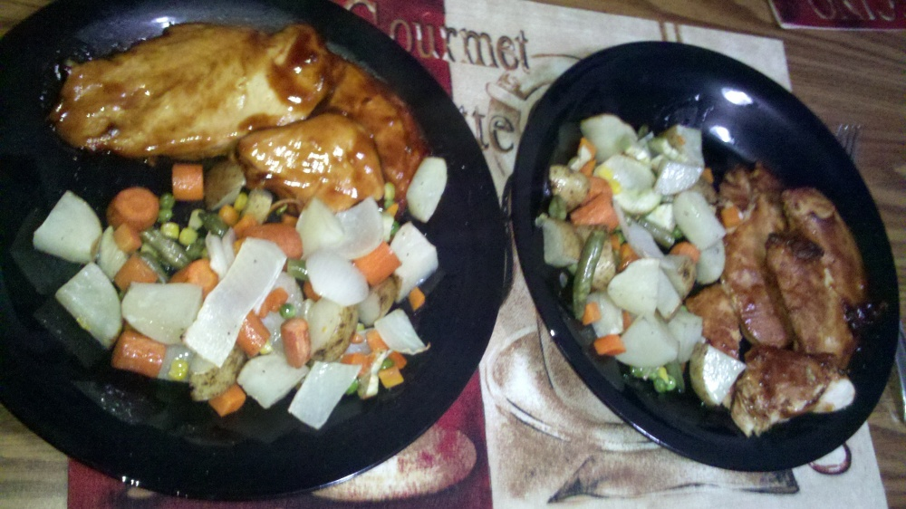 new britain ct :: bbq chicken, onions, garlic, potatoes, carrots and some frozen mixed veggies.