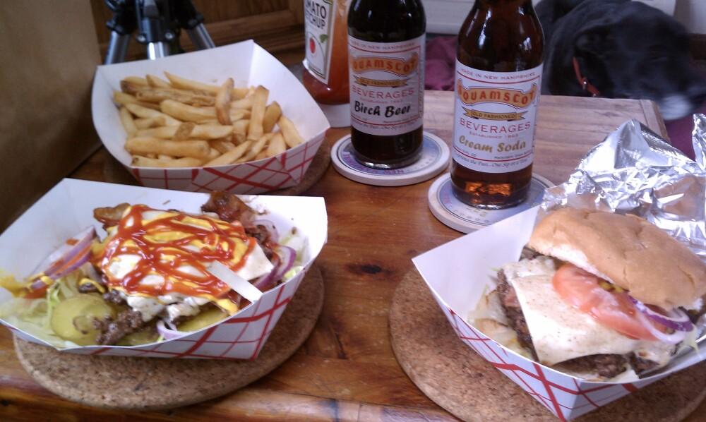 papa joe's humble kitchen Milford NH :: Texas burgers with fries and cream soda and birch beer soda