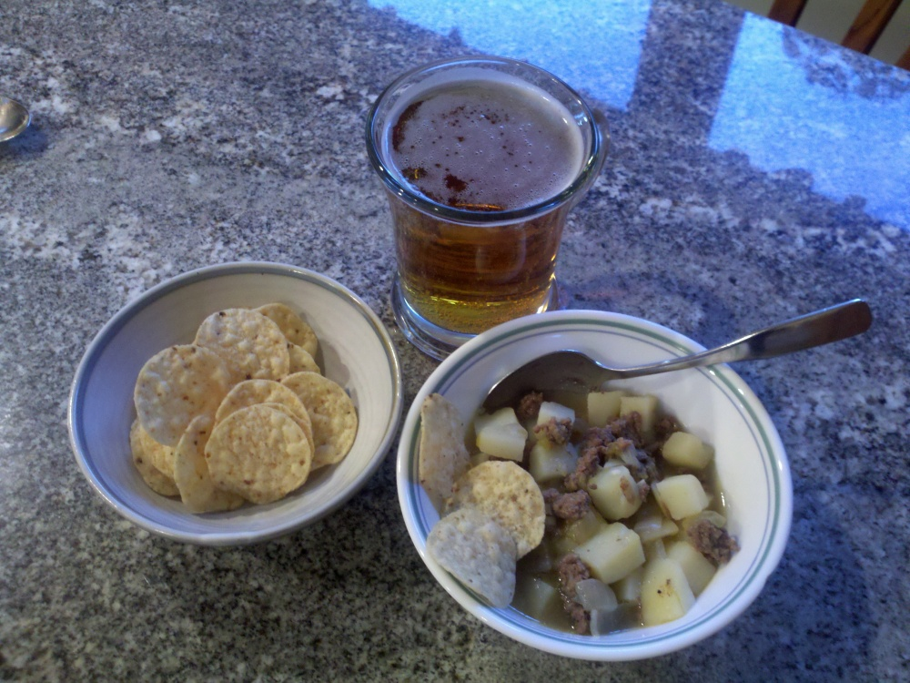 Milford, NH :: Happy Cinco De Mayo Day Dinner: Caldito - Beef and Potato Soup, with Corn Chips, and a Beer
