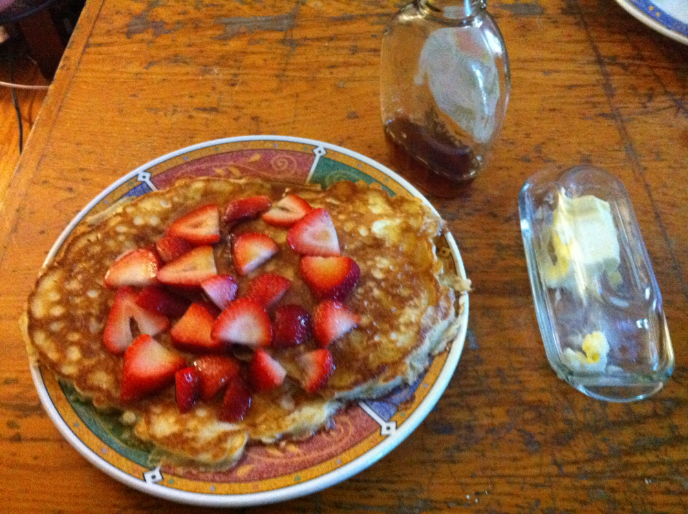 Brookline :: Sour cream pancakes, organic strawberries, and Vermont maple syrup.