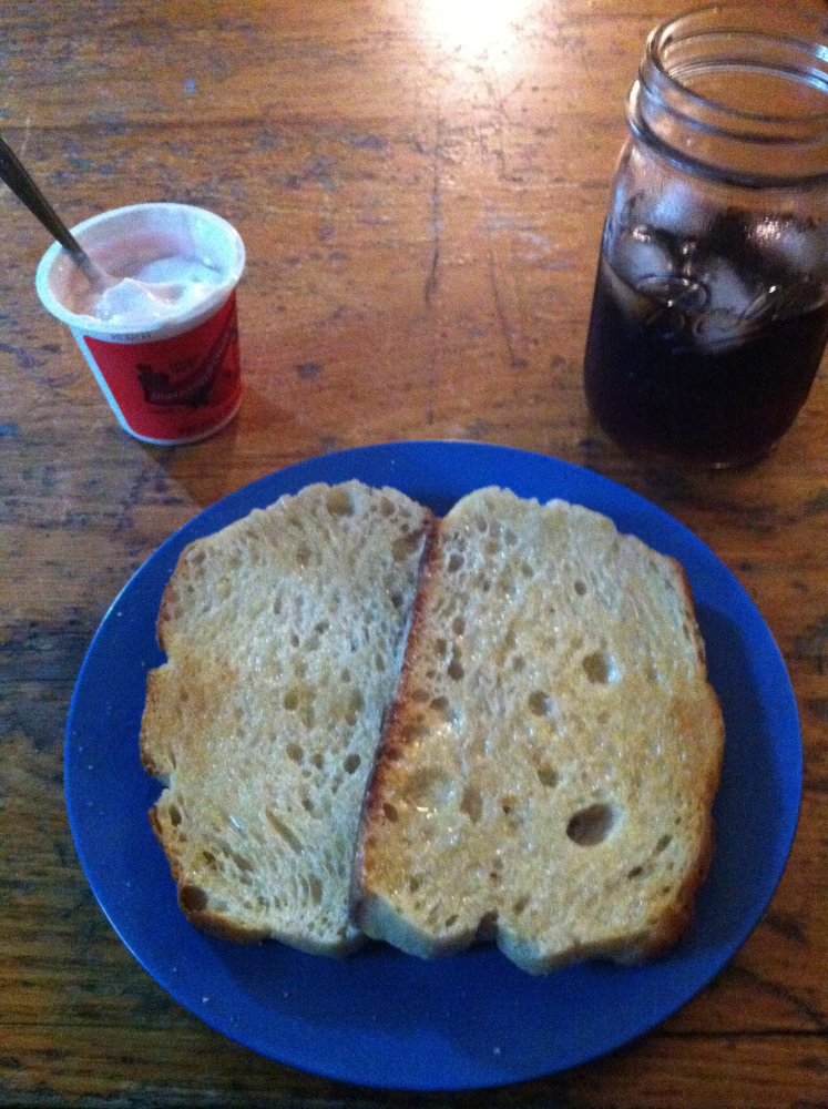 Brookline :: Yogurt, sour dough toast, and Sailor Jerry's on the rocks.