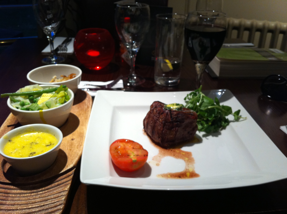Miller & Carter, Wilsmlow, Cheshire, England :: Petite fillet, roasted tomato, mixed greens and bergnaigse sauce.