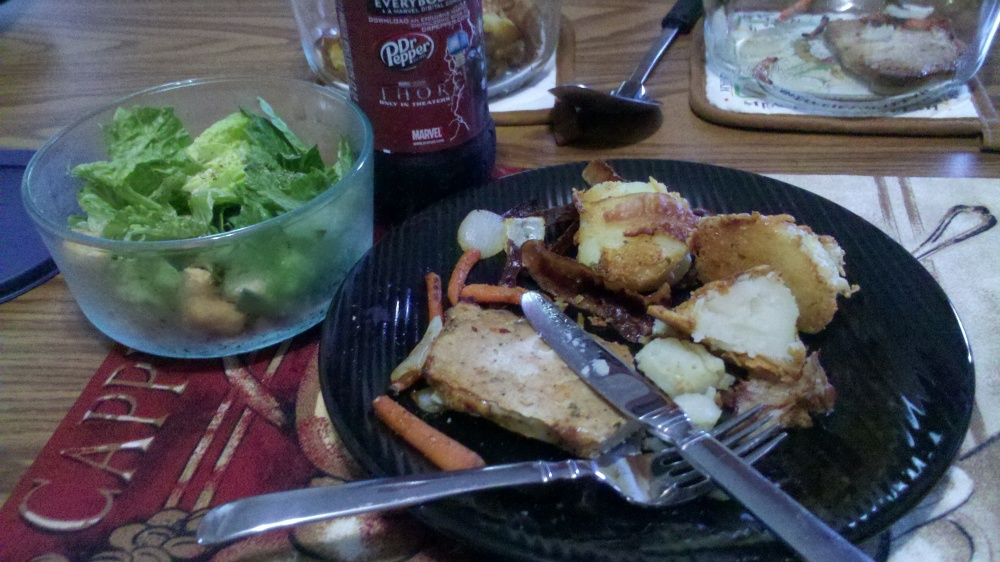 new britain ct :: made my hungry husband a cesar salad, dr. pepper,  parmesian potatoes with bacon, parsley, onion, and nutmeg, italian pork with carrots and onions for dinner :) mmm
