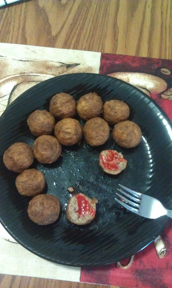 new britain ct :: Italian meatballs with some sort of goya hot sauce