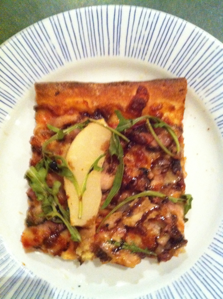 Melbourne, Australia :: Five spice pork belly pizza with pear, rocket, roasted walnuts & a balsamic reduction