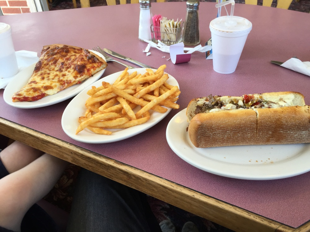 SAX Pizza Plainville CT :: Steak and cheese onions peppers, slice of cheese, fries, chocolate milk. Their steak and cheese is very good