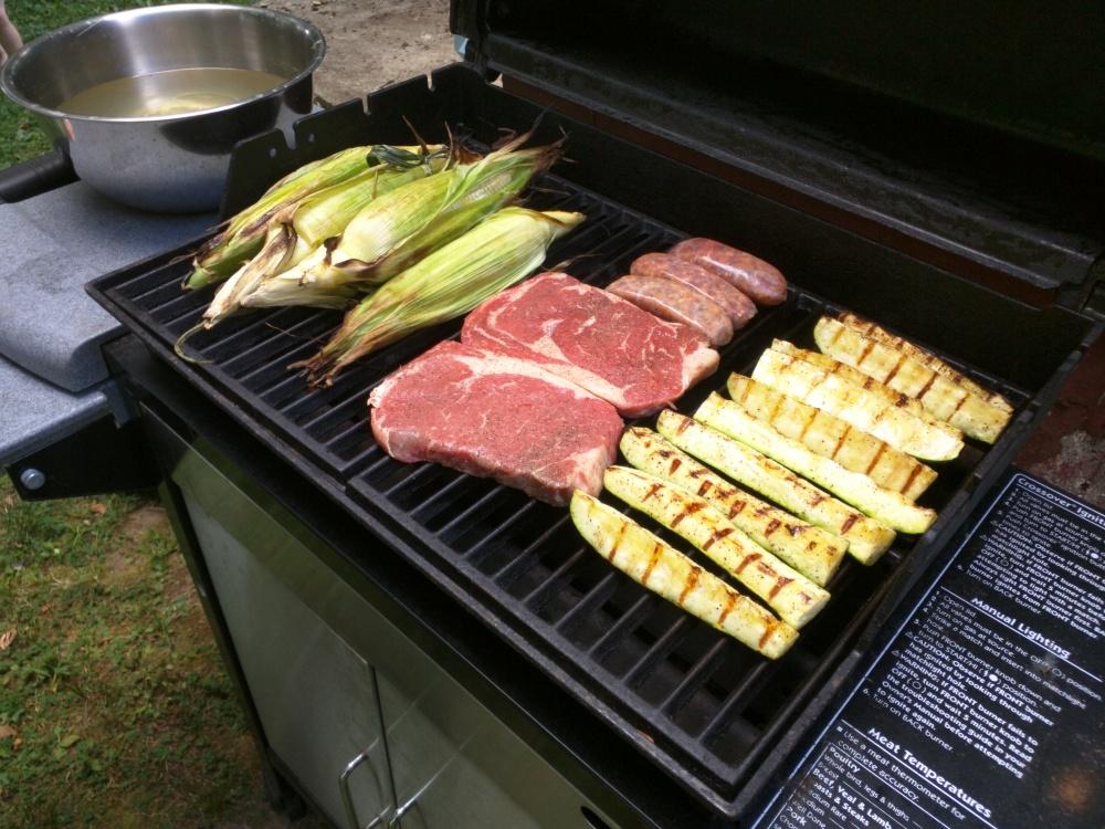 Plainville CT :: Corn steak zucchinis hot sausages