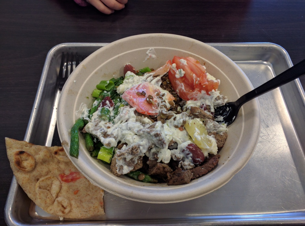 Simple Greek West Hartford CT :: Steak Bowl, feta, lentil, wheat pita, beans, tomatoes, tzaziki
