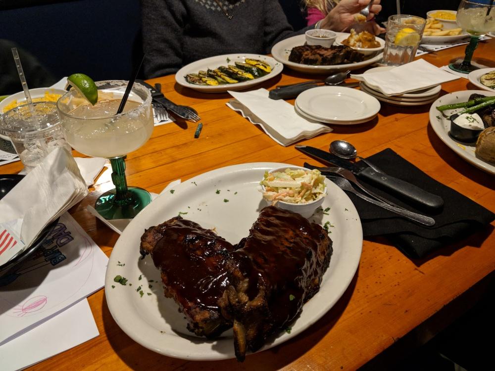 Chuck's Steakhouse and Margarita Bar, Auburn MA :: Full rack of ribs, coleslaw, classic Margarita on the rocks with salt