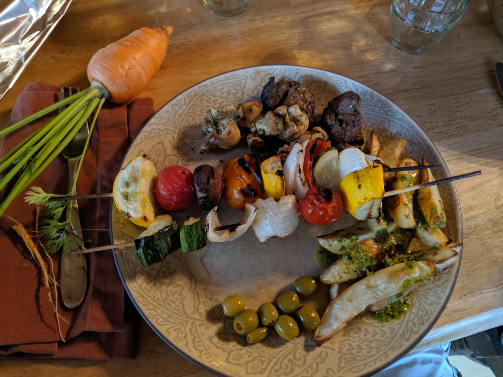 Freeport Maine :: Freshly pulled carrot, green olives, shish kebab, chicken, lamb, potato wedges