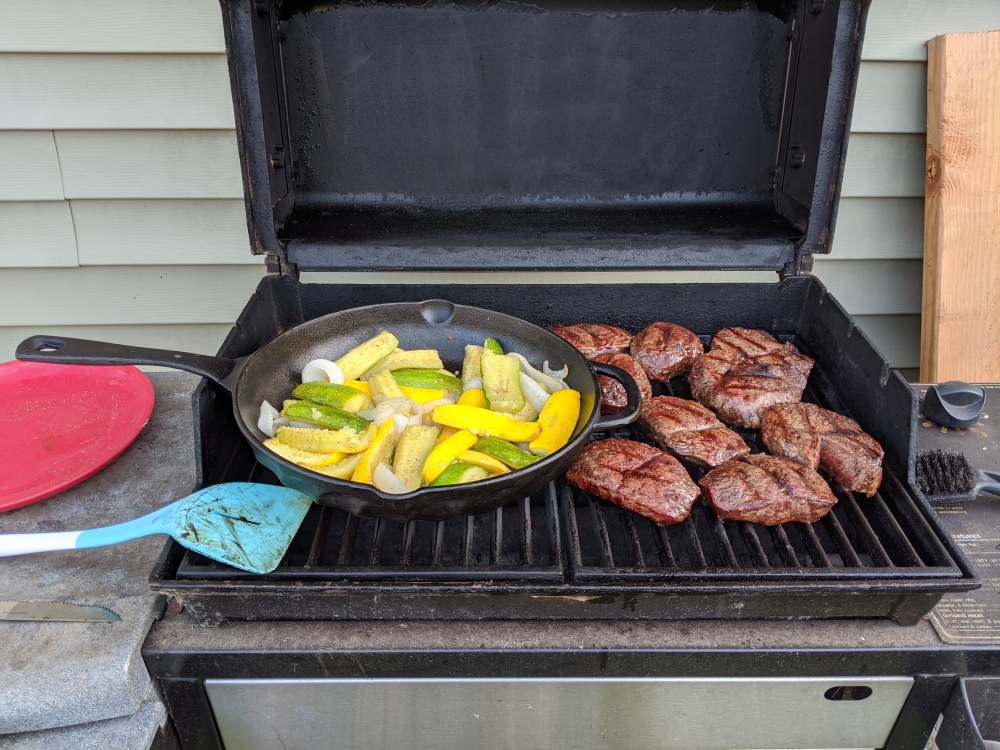 My Backyard :: Steaks with squash, zucchini, onions on the cast iron