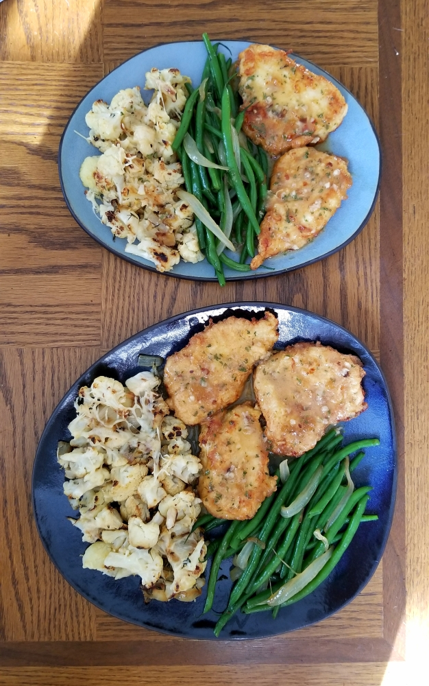 Bristol, Connecticut :: Chicken Francaise, parmesan roasted cauliflower, green beans and onions.