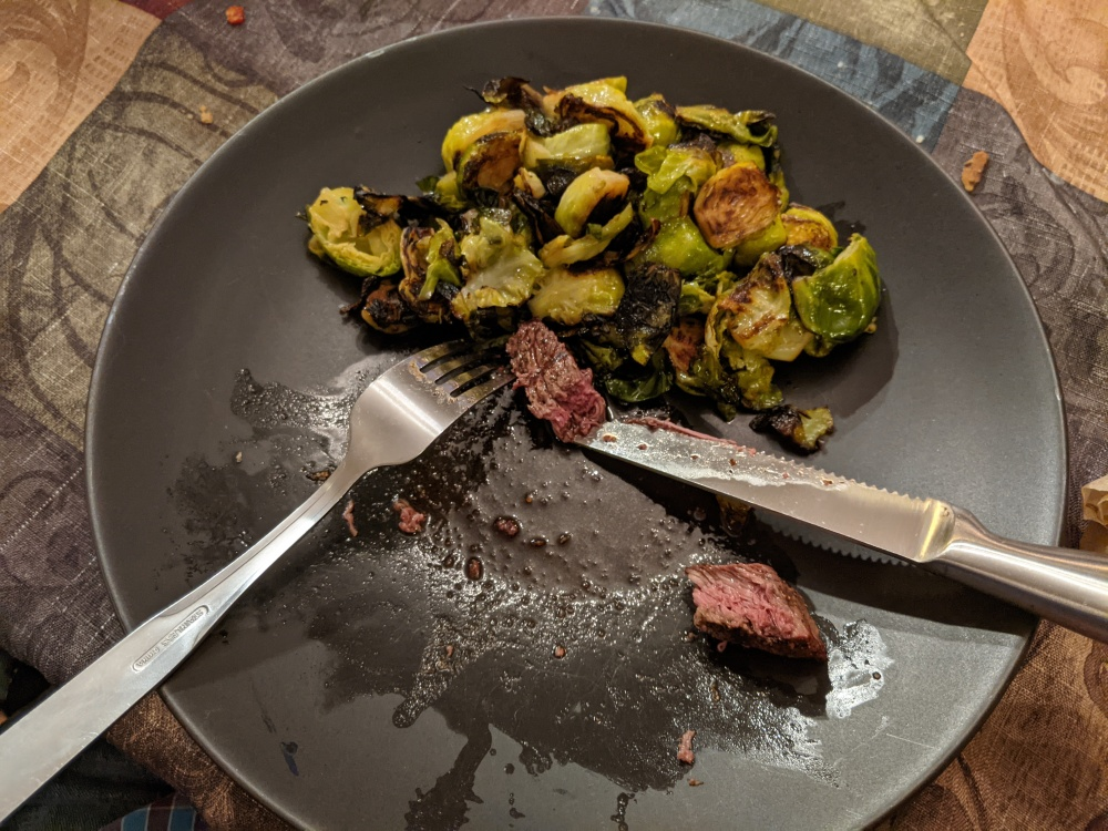 Plainville, CT, USA :: St. Patrick's Day Dinner. Brussels and steak